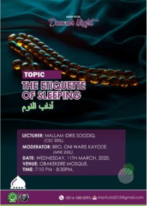 mssn futa dawah night: The Etiquette of Sleeping