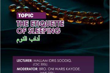 mssn futa dawah night: The Etiquette of Sleeping