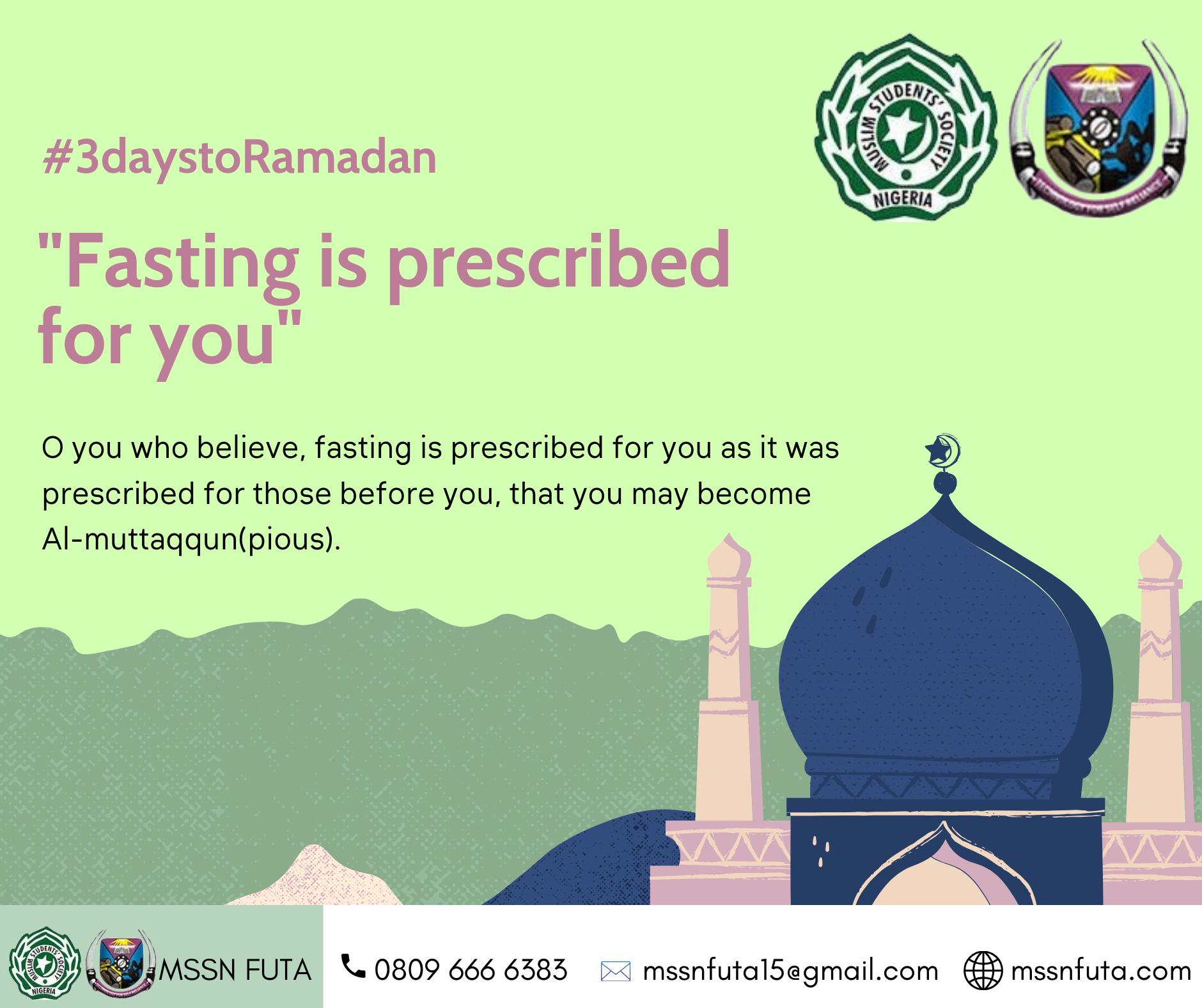 3 days to Ramadan