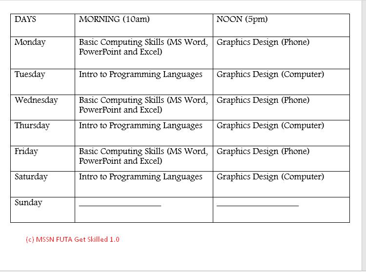 MSSN FUTA Get Skilled 1.0 Timetable