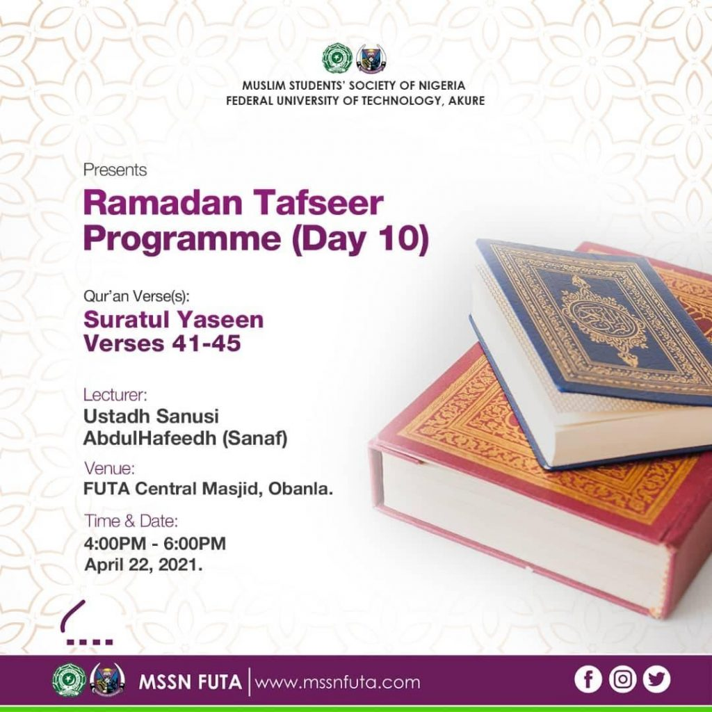 Ramadan Tafseer Day 10 - MSSN FUTA