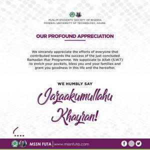 MSSN FUTA Ramadan Appreciation Message