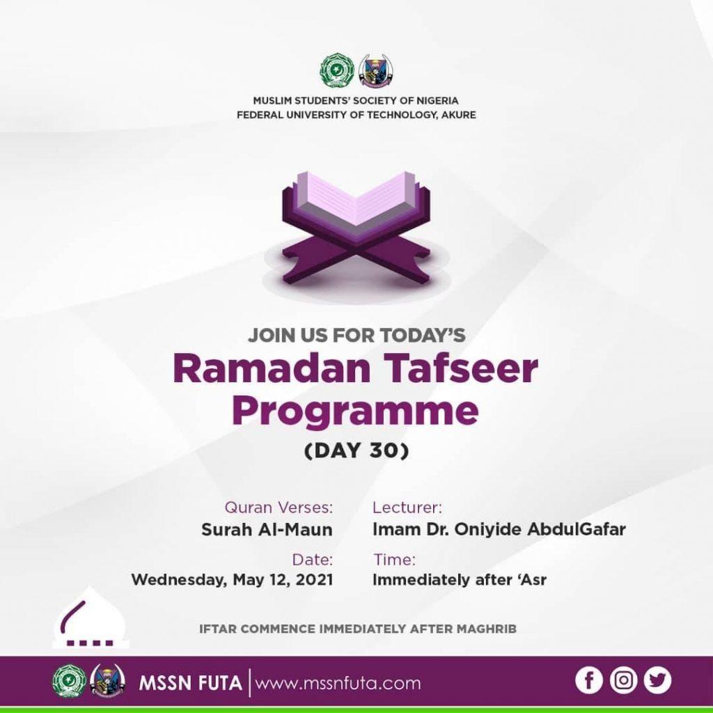 Ramadan Tafseer Day 30 MSSN FUTA