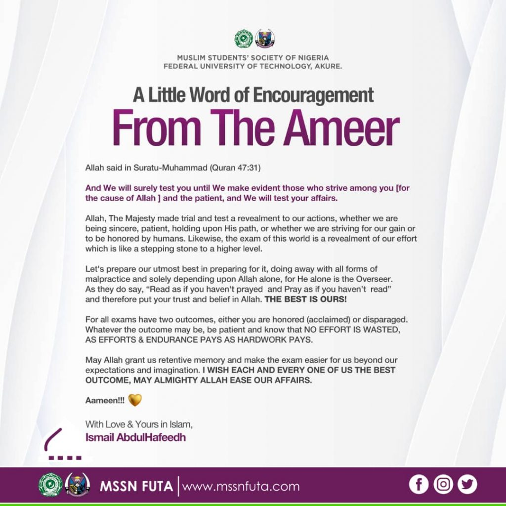 A word from Ameer MSSN FUTA